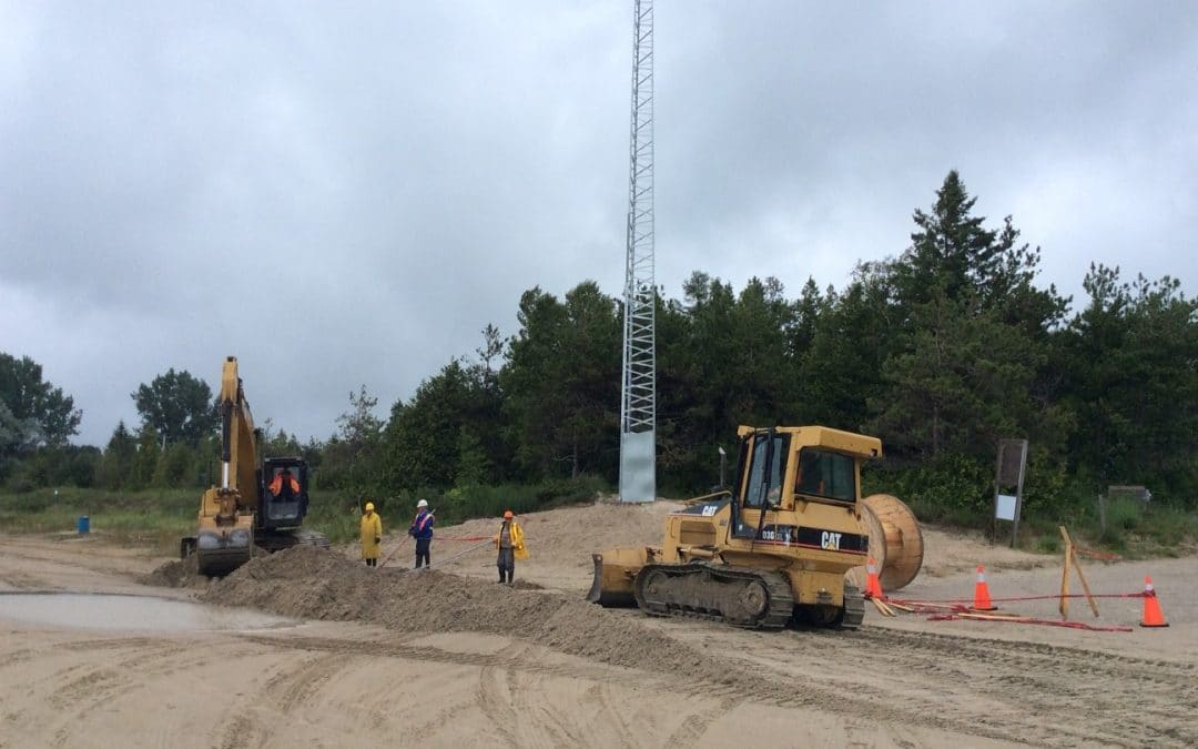 Band Installing Towers and Cable along the Main Beach